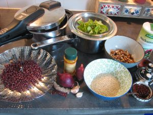 Burgerpunten ingrediënten in bakjes